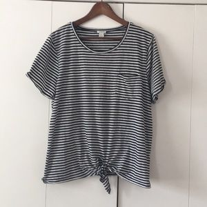 Jcrew knot front striped T-shirt